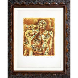 Andre Masson Original Couple Lithograph Hand Signed on Arches W/Frame For Sale