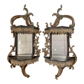 Pair of Chippendale Style Wall Mirrors For Sale