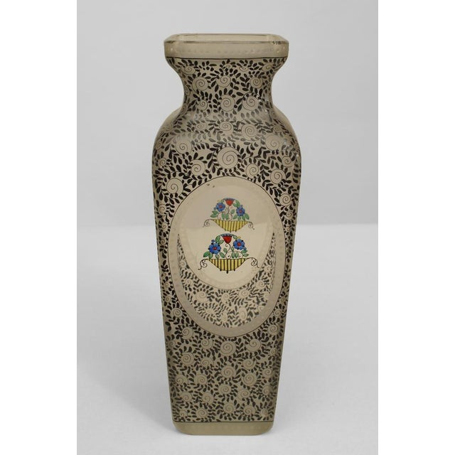 Art Deco Austrian (Bohemia) Secessionist Tapered Square Glass Vase For Sale - Image 3 of 5