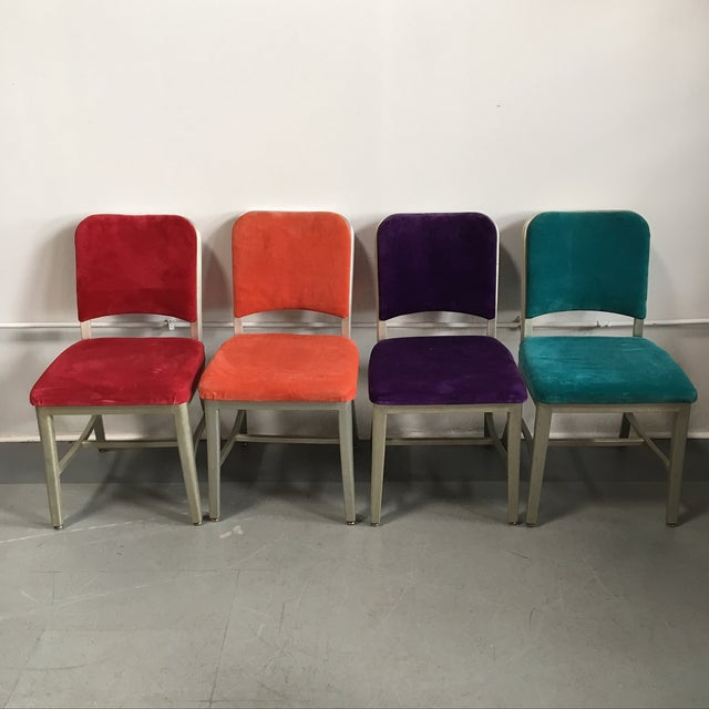 Emeco Vintage Velvet Dining Chairs - Set of 8 - Image 3 of 11