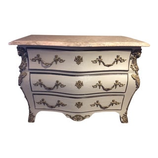Louis XIV Style Painted Serpentine Three Drawer Chest For Sale