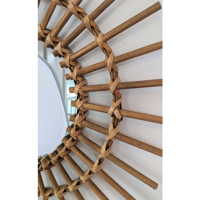 Boho Chic Boho Chic Rattan and Wooden Starburst Mirror For Sale - Image 3 of 7