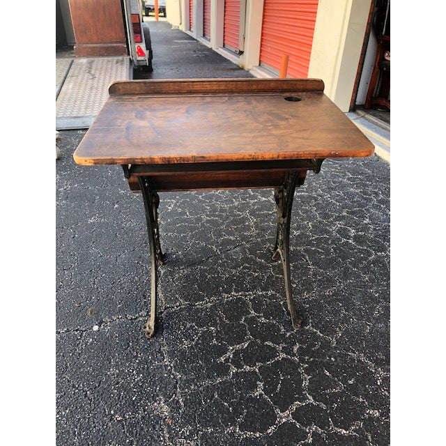 Children's Antique Child's School Desk With Folding Chair For Sale - Image 3 of 6