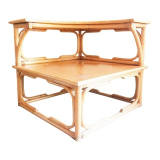 1960s Mid Century Modern Two-Tier Faux Bamboo Accent Table