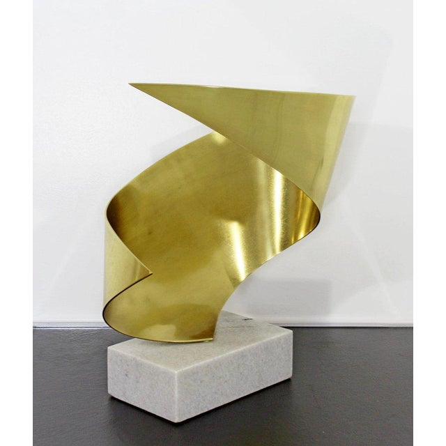 Hollywood Regency Mid-Century Modern Bronze Ribbon Marble Table Sculpture Signed James Nani 1978 For Sale - Image 3 of 13