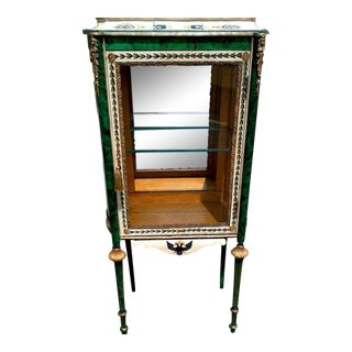 Vitrine in the Russian Style With Faux Malachite Refreshed Paint For Sale