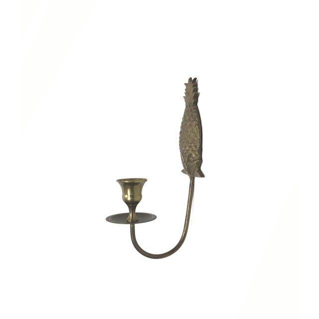 Brass Wall Mount Candle Sconces - A Pair For Sale - Image 7 of 7