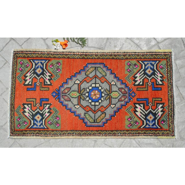 """1970s Hand Knotted Door Mat, Entryway Rug, Bath Mat, Kitchen Decor, Small Rug, Turkish Rug - 1'9"""" X 3'2"""" For Sale - Image 5 of 5"""