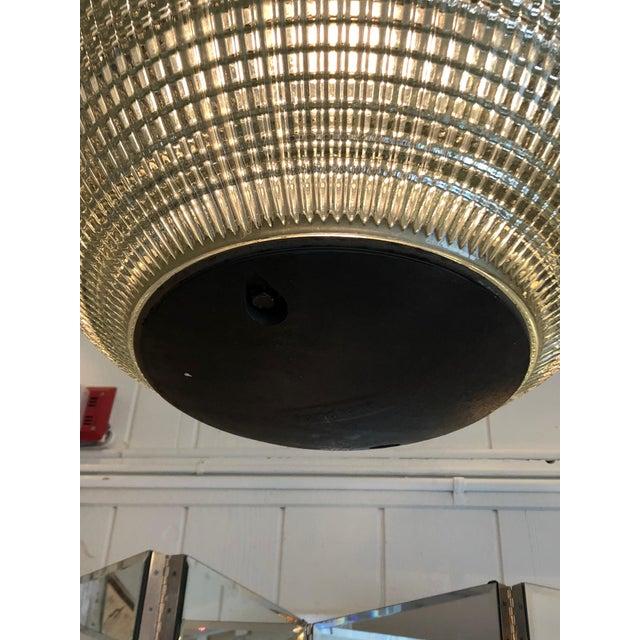 Industrial Parisian Holophane Globe Pendant Chandelier For Sale - Image 3 of 13