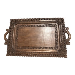 Mid-Century Carved Wooded Tray For Sale