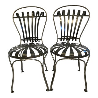Black Metal Antique French Cafe' Chairs - a Pair For Sale