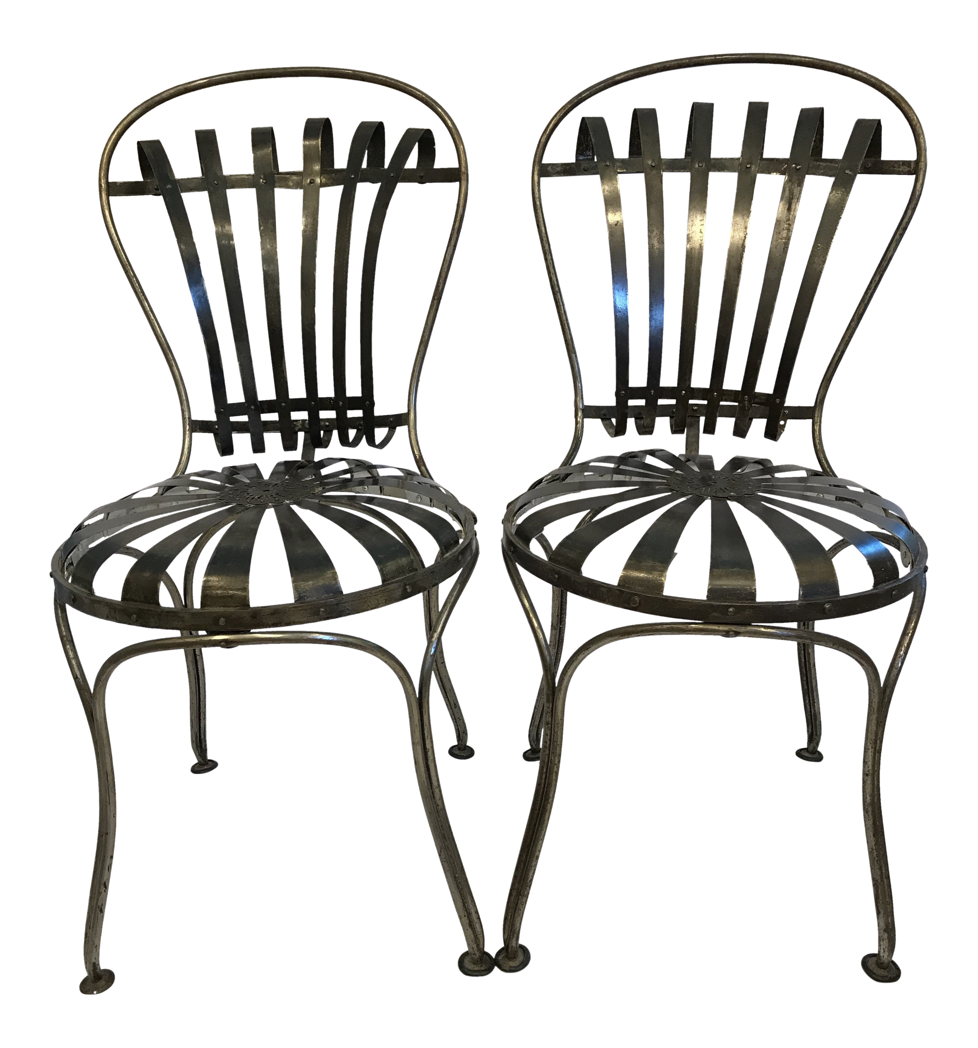 Black Metal Antique French Cafeu0027 Chairs   A Pair For Sale