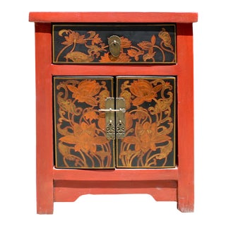 Oriental Distressed Orange Red Graphic Side End Table Nightstand For Sale