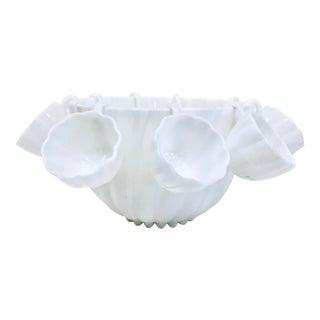 1960s Hazel Atlas Milk Glass Punch Bowl + 9 Cups - 10 Pieces For Sale