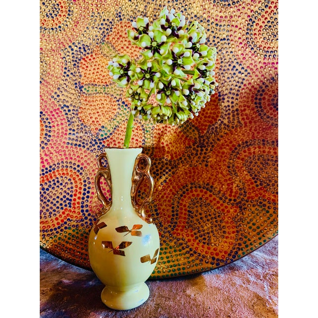 Vintage Yellow Porcelain Bud Vase With 22 Karat Gold Accents For Sale - Image 10 of 11