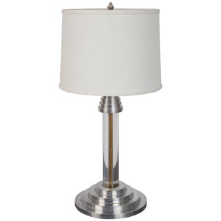 Art Deco Streamline Modern Lucite and Aluminium Table Lamp For Sale