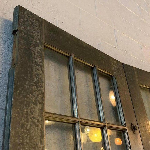 Metal Industrial Tall Brushed Steel and Glass Doors For Sale - Image 7 of 12