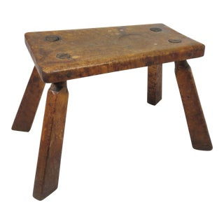 Antique American Country Primitive Birdseye Maple Foot Stool For Sale