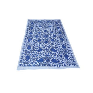 Boho Chic Blue Pomegranate and Leaf Design With Floral Center, Crochet Suzani Throw For Sale