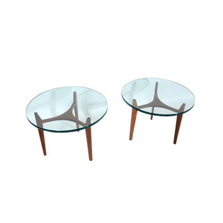 1960s Mid-Century Modern Walnut Table Glass Top Side Tables - a Pair For Sale