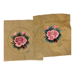 1980s Vintage Punch Needle Embroidery Pillow Covers - A Pair For Sale