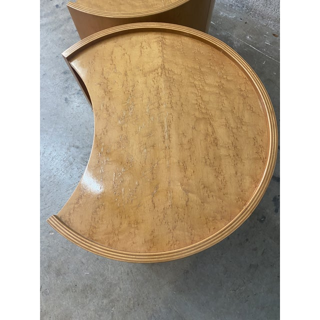 Vintage Mid-Century Modern Michael Taylor for Baker Curved Nightstands - a Pair For Sale In West Palm - Image 6 of 9