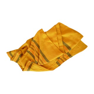 Woven Yellow Striped Tablecloth Throw For Sale