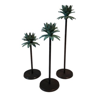 Palm Tree Candle Holders - Set of 3