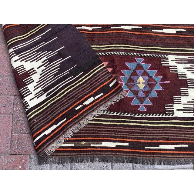 Vintagr Turkish Kilim Rug For Sale - Image 10 of 11