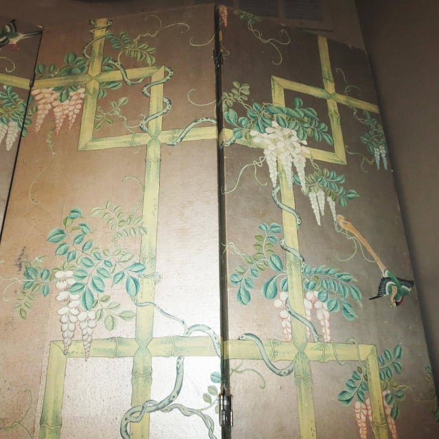 19th Century Four-Panel Painted Screen of Birds and Bamboo For Sale In Los Angeles - Image 6 of 9