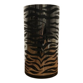 Mid Century Zebra Chrome Wastebasket For Sale