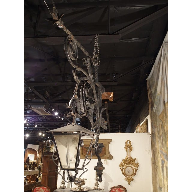 Metal Massive Circa 1700 Forged Iron Lantern Holder From a Castle in Wallonia Belgium For Sale - Image 7 of 12