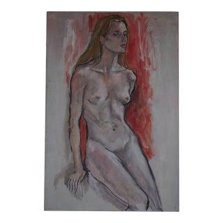 Vintage Female Woman Nude Portrait Painting Elizabeth Widmayer For Sale