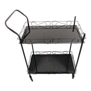 Mid-Century Modern Black Metal & Glass Bar Cart