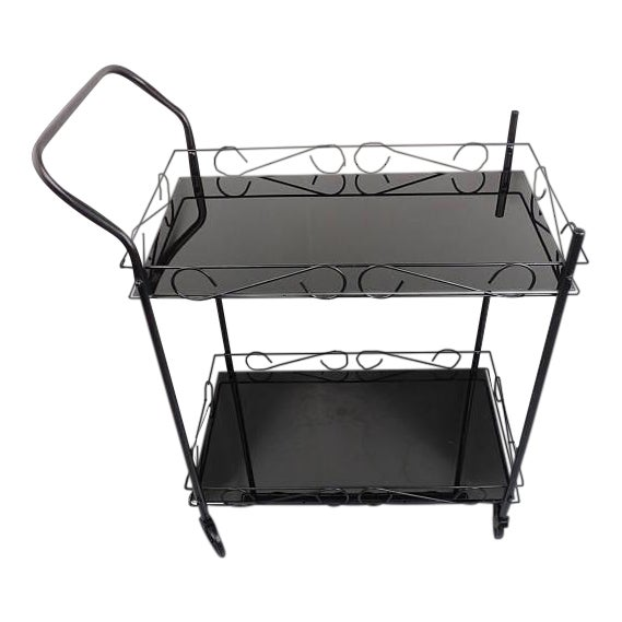 Mid-Century Modern Black Metal & Glass Bar Cart For Sale