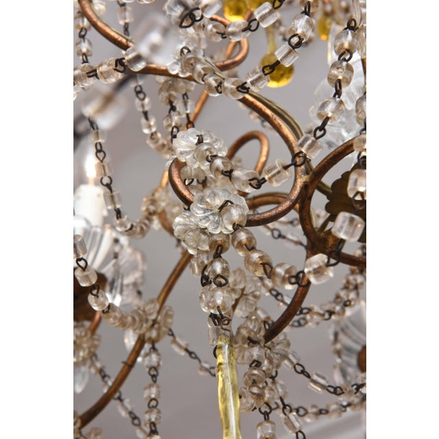 Blown Glass Vintage Venetian Glass and Gilt Metal Chandelier For Sale - Image 7 of 10
