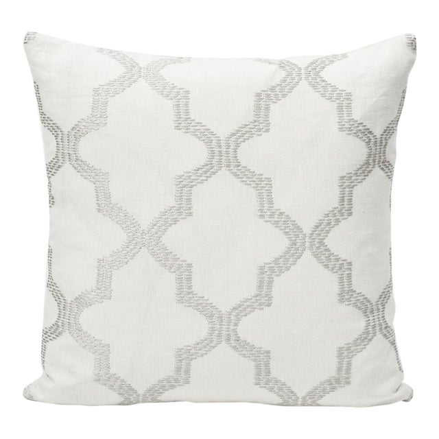 Schumacher Double-Sided Pillow in Tangier Embroidery Print For Sale
