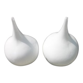 Arteriors Home Large Hand Blown Glass Vases - A Pair For Sale