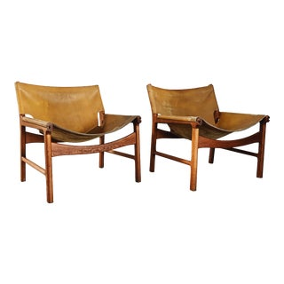 1960s Vintage Illum Wikkelso for Mikael Laursen Leather Ling Chairs - a Pair For Sale
