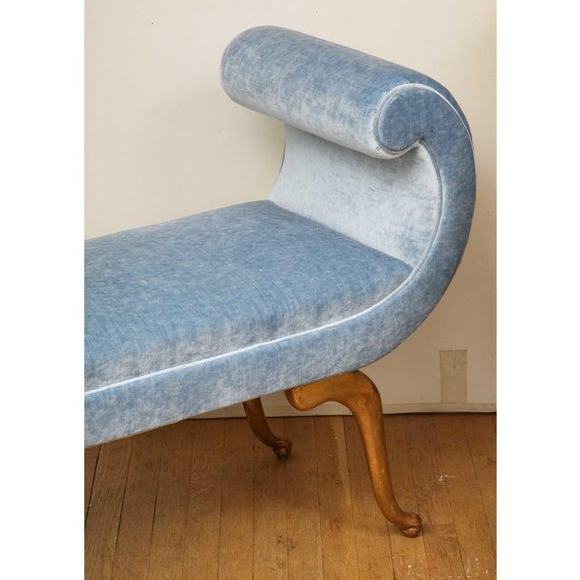 Italian Giltwood Bench in Blue Velvet For Sale - Image 12 of 13