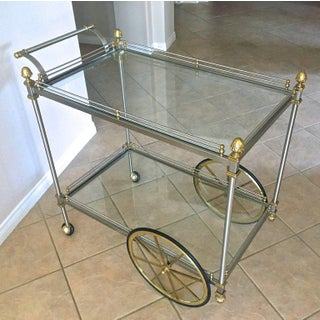 Large Italian Neoclassic Brass and Brushed Steel Bar / Tea Cart Preview