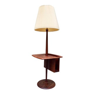 1960's Laurel Walnut Floor Lamp & Table With Magazine Rack For Sale