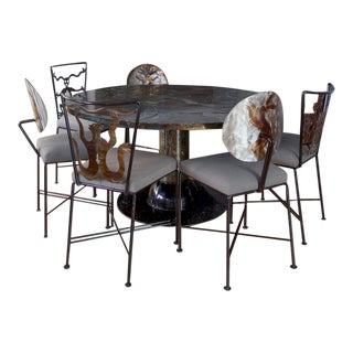 Southwestern Frank Seckler Handcrafted Steel Round Dining Set - 7 Pieces For Sale