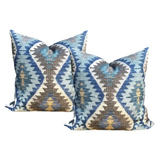 Tribal Blue and Brown Pillows - a Pair For Sale