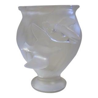 1980s Vintage Lalique l'Hirondelle Vase For Sale