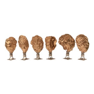 Golden Oyster Shell Place Card Holders, Set of 6 For Sale