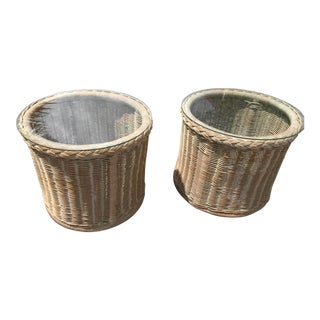 1970s Shabby Chic Wicker Side Tables - a Pair For Sale