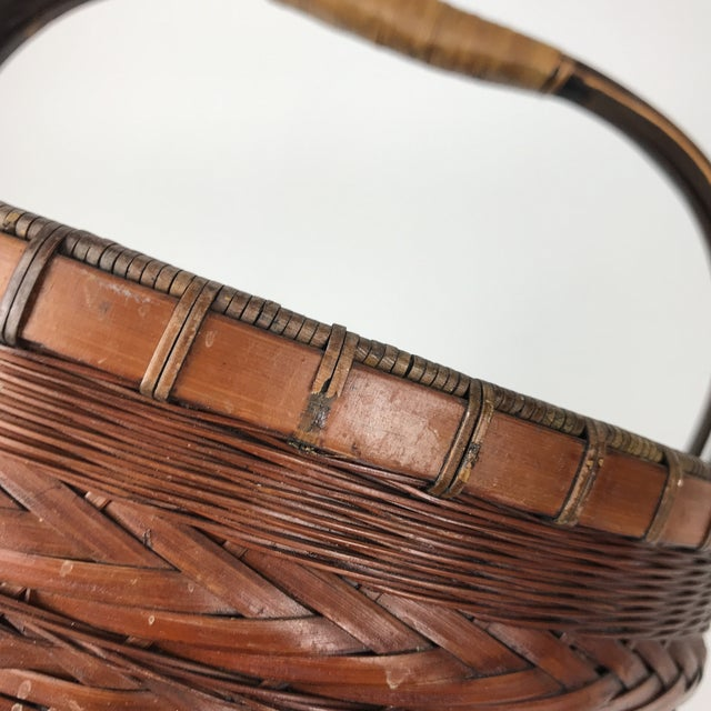 1970s Antique Asian Bamboo Handmade Basket For Sale - Image 5 of 6