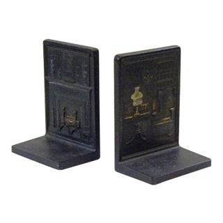 Vintage Bradley & Hubbard Cast Iron Bookends - a Pair For Sale