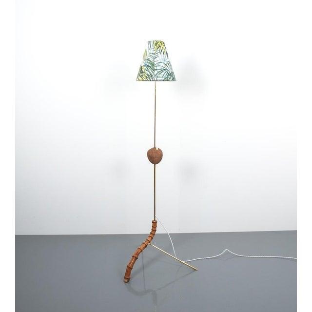 Mid-Century Modern Coconut Brass Bamboo Floor Lamp Attr. Kalmar, Austria 1950 For Sale - Image 3 of 11